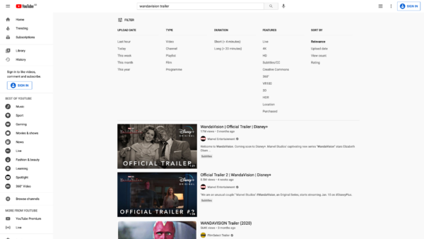 YouTube Filter results screenshot