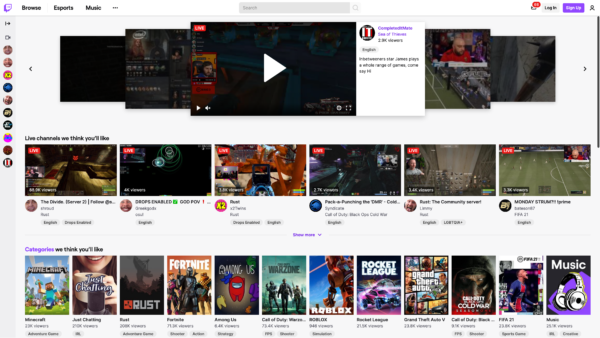 Twitch Home screenshot