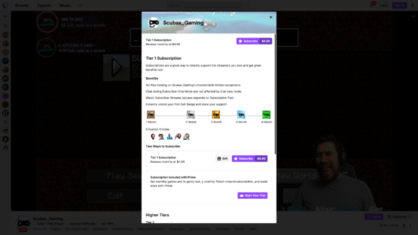 Twitch Subscription screenshot