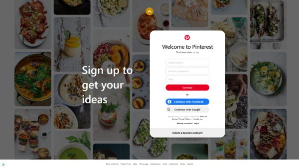 Pinterest Sign up to get your ideas screenshot