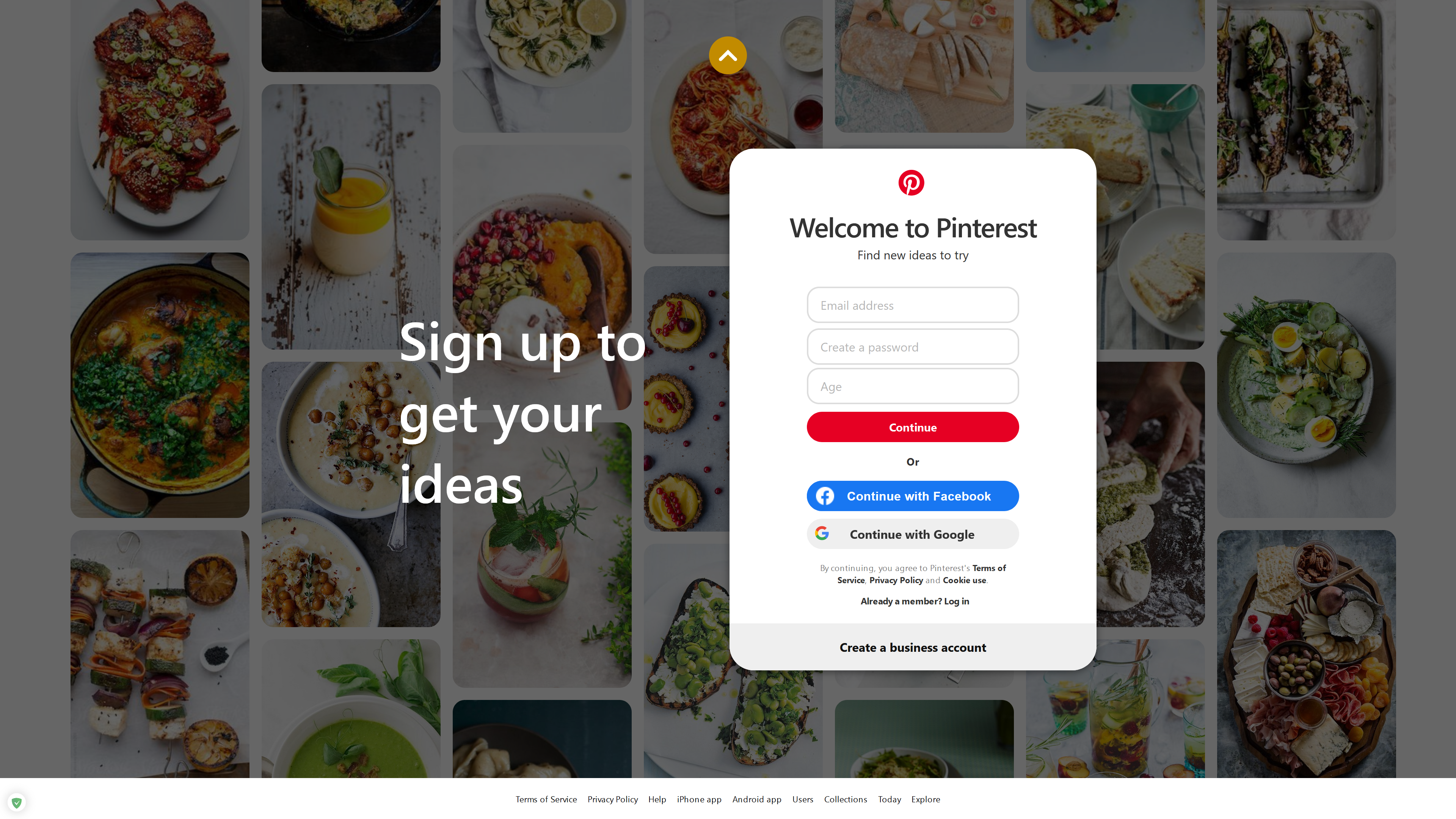Sign up to get your ideas screenshot