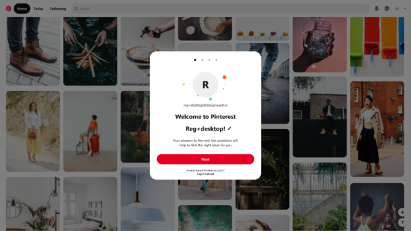 Pinterest Welcome to Pinterest! screenshot