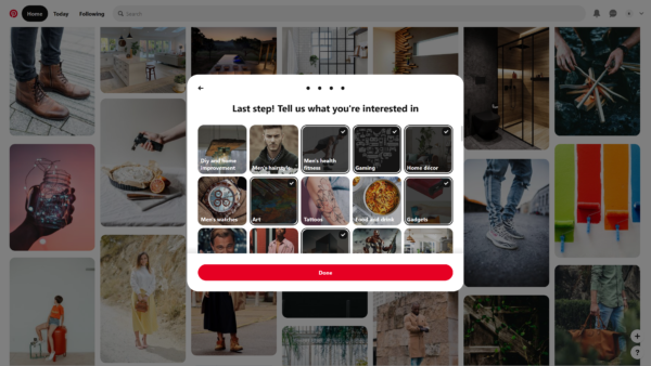 Pinterest Tell us what you're interested in screenshot