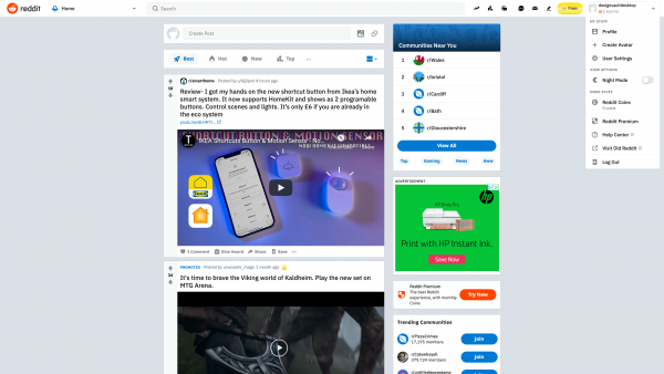 Reddit User menu screenshot