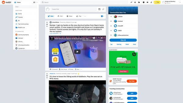 Reddit Popover navigation screenshot