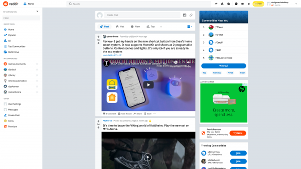 Reddit Fixed side navigation screenshot