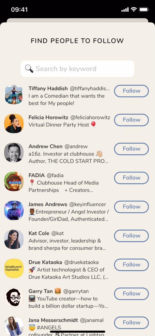 Clubhouse Find people to follow screenshot